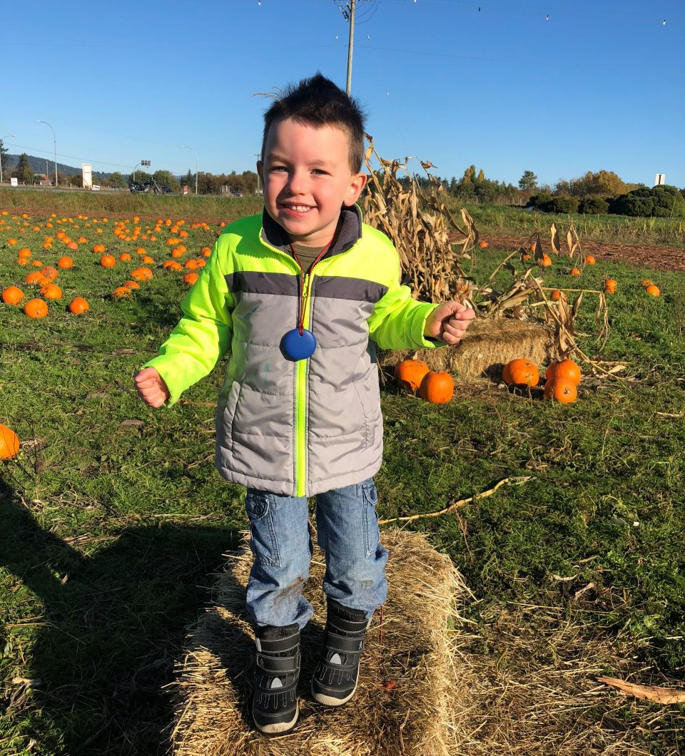 Grant with pumpkins